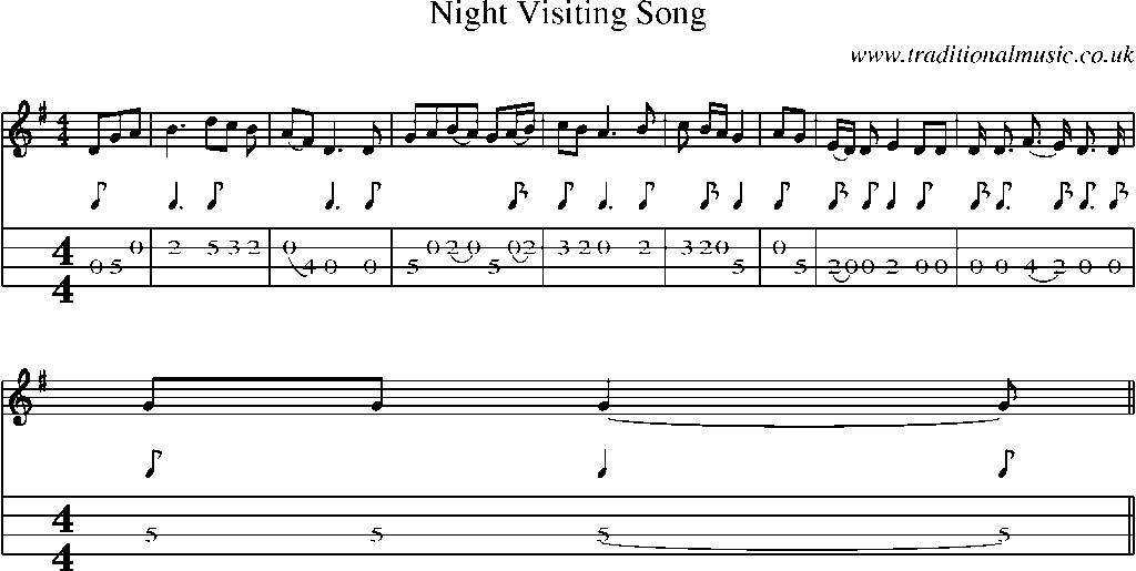 Mandolin Tab and Sheet Music for song:Night Visiting Song