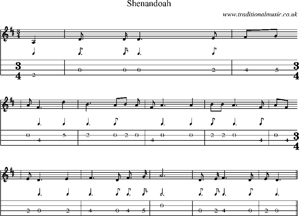 Lyric shenandoah lyrics : Mandolin Tab and Sheet Music for song:Shenandoah