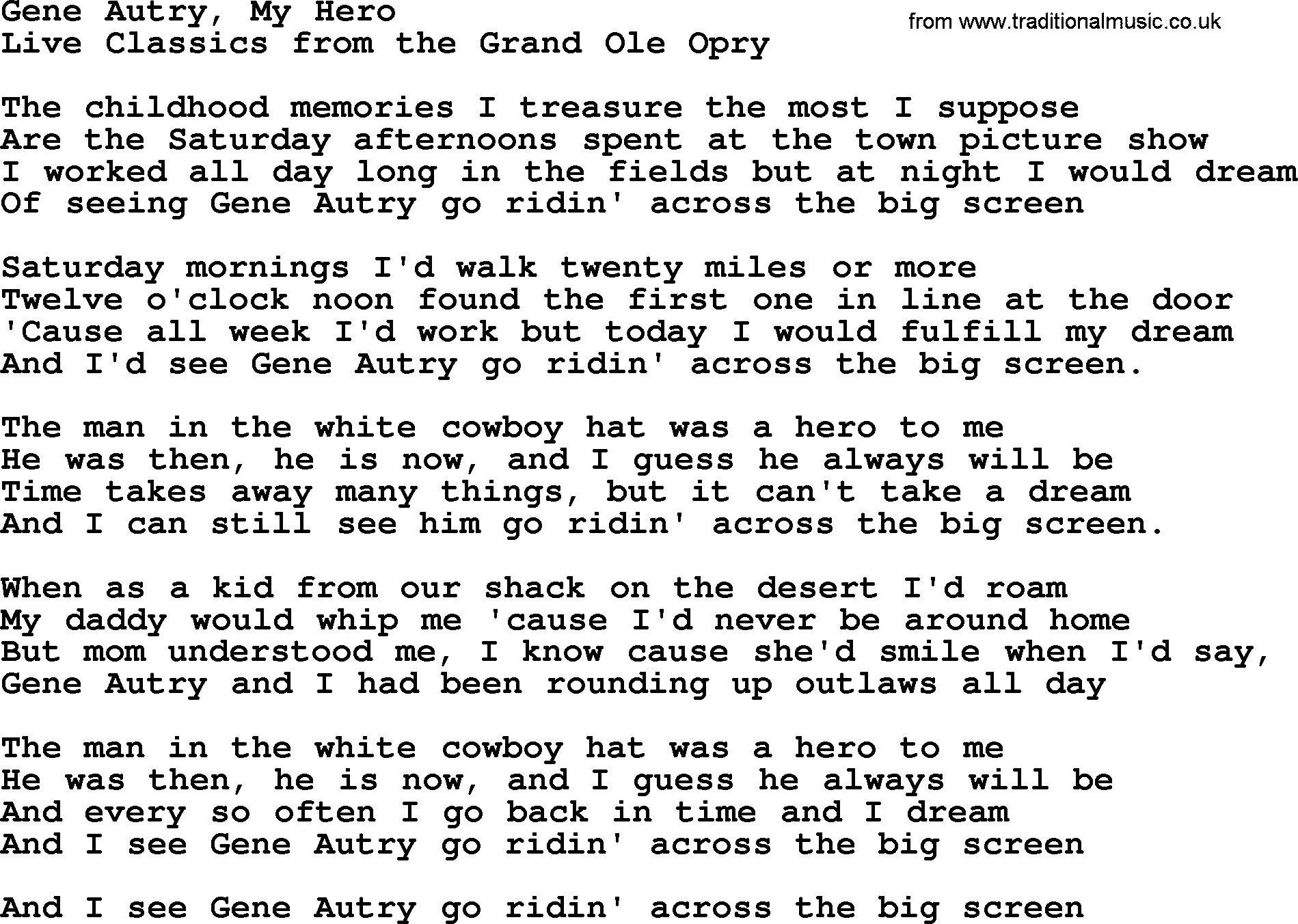 Gene Autry My Hero, by Marty Robbins - lyrics