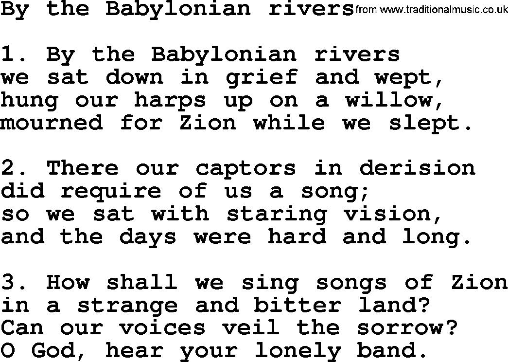 Presbyterian Hymn: By The Babylonian Rivers - lyrics, and PDF