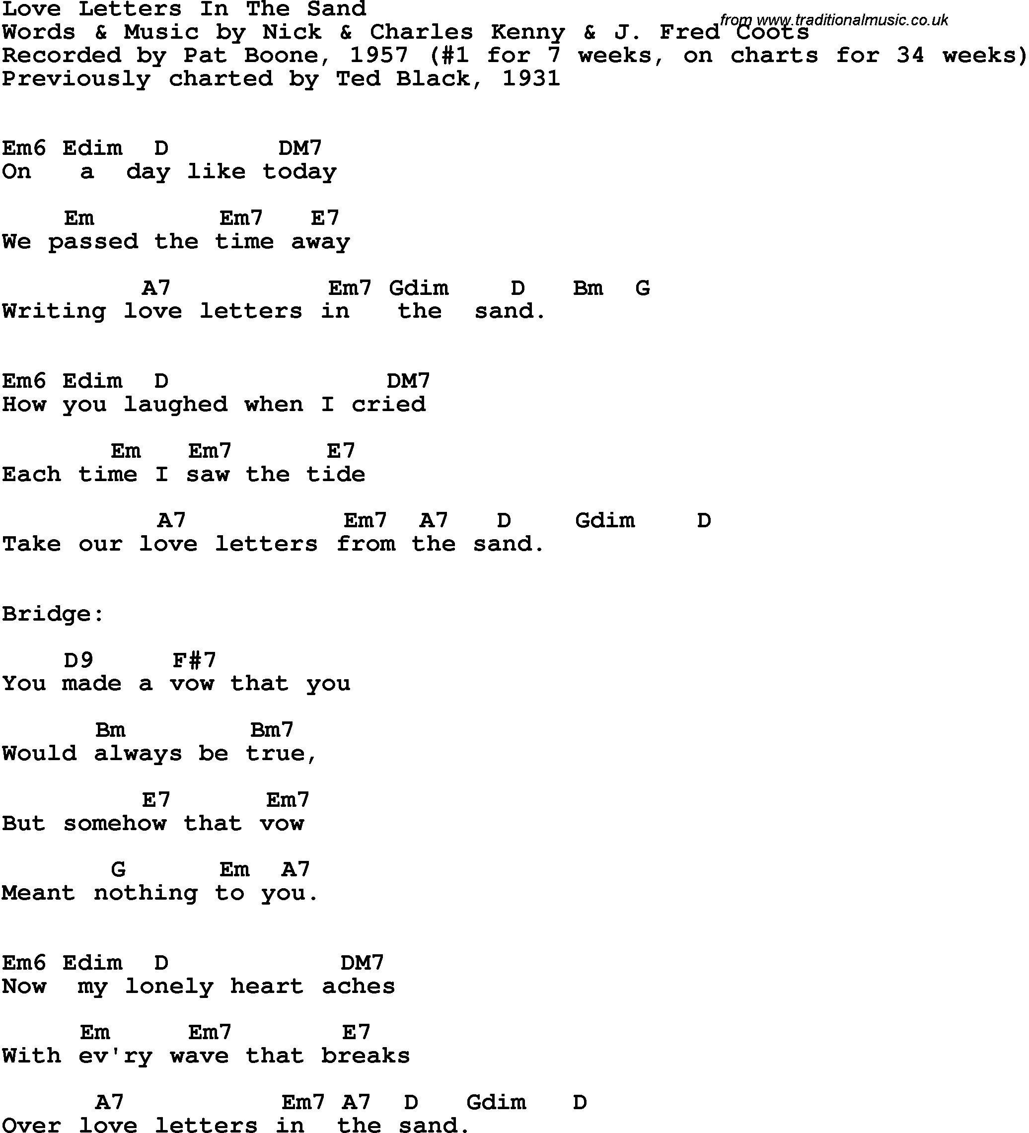 Song lyrics with guitar chords for Love Letters In The Sand Pat