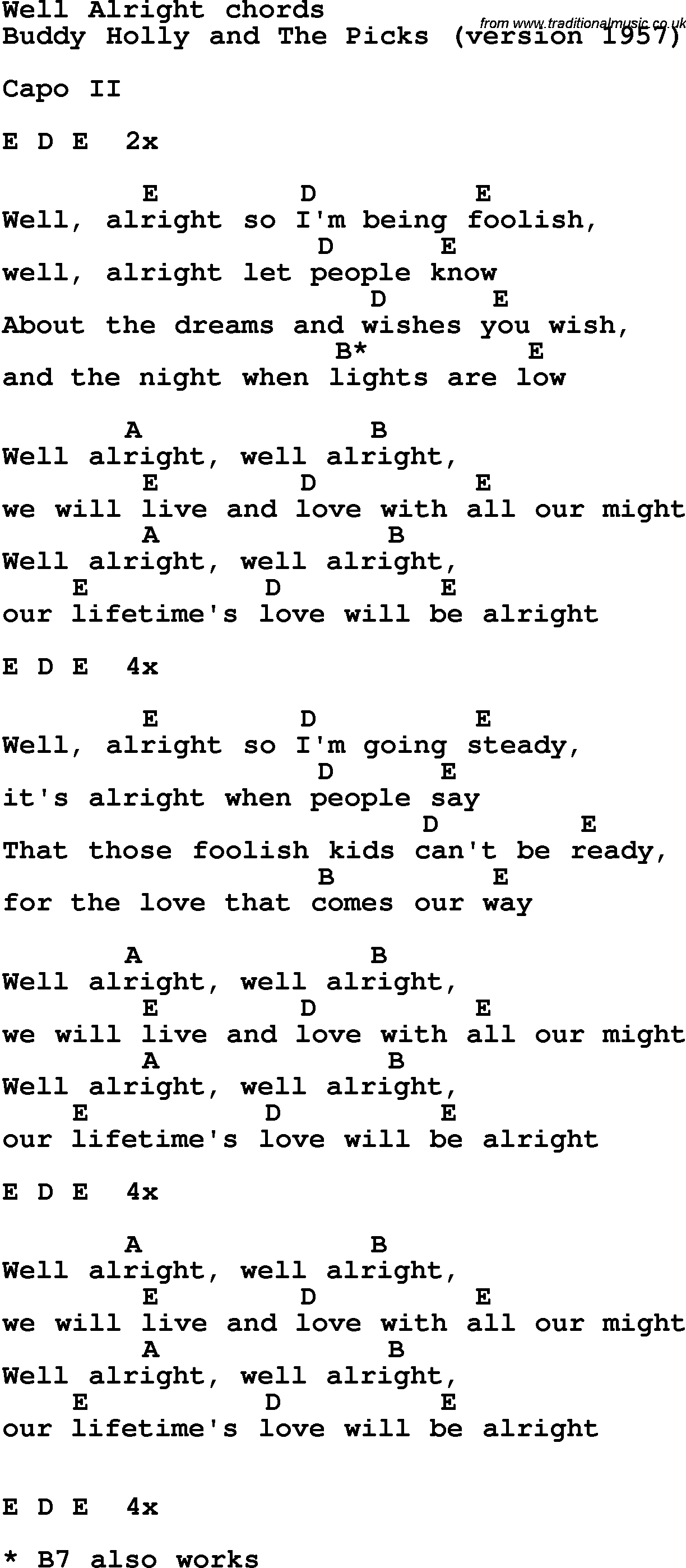 Song lyrics with guitar chords for Well Alright