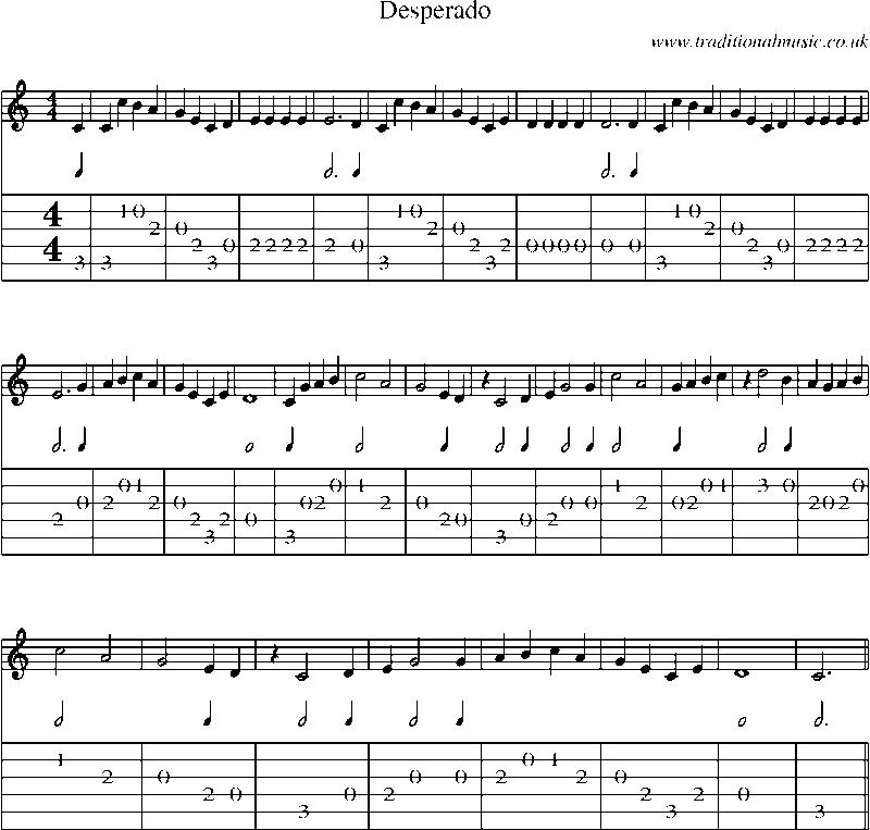 All Music Chords desperado sheet music : Guitar Tab and sheet music for Desperado