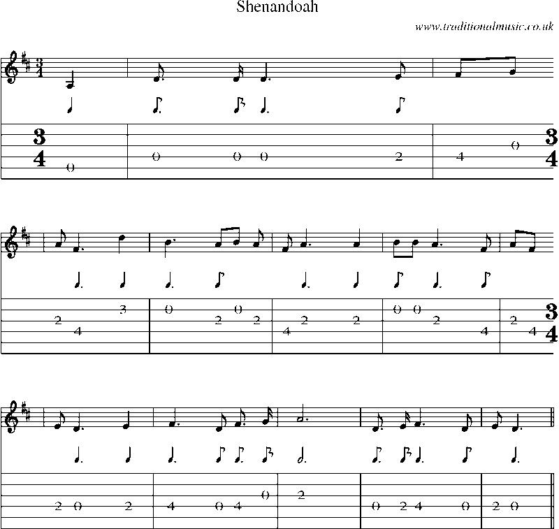 All Music Chords sheet music shenandoah : Guitar Tab and sheet music for Shenandoah