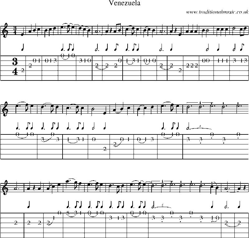 Guitar sheet music for guitar : Guitar Tab and sheet music for Venezuela