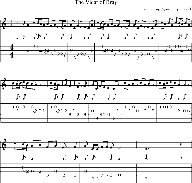 Guitar Tab and sheet music for The Vicar Of Bray
