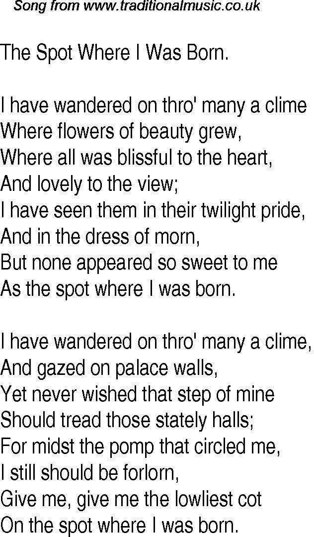 Old Time Song Lyrics for 11 The Spot Where I Was Born