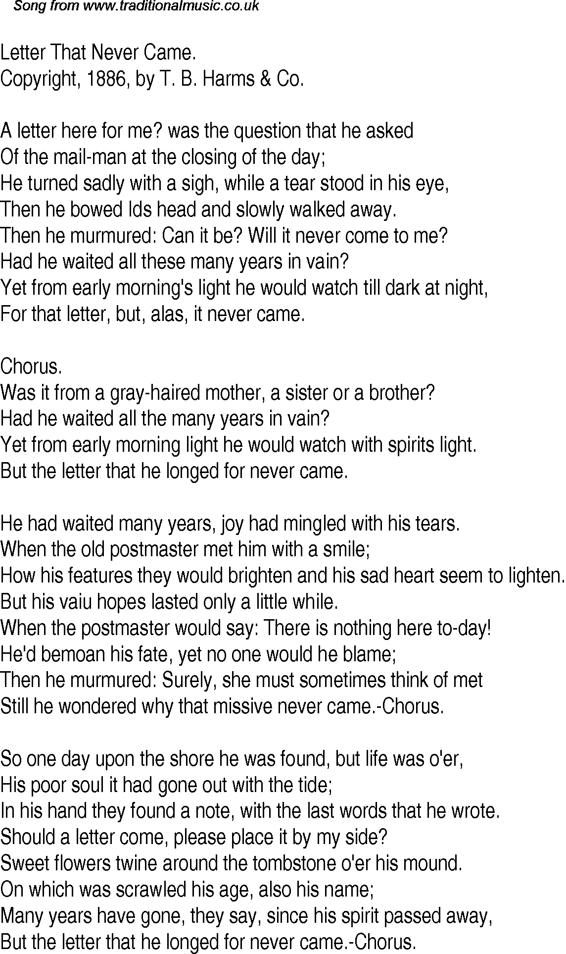 Old Time Song Lyrics for 13 Letter That Never Came