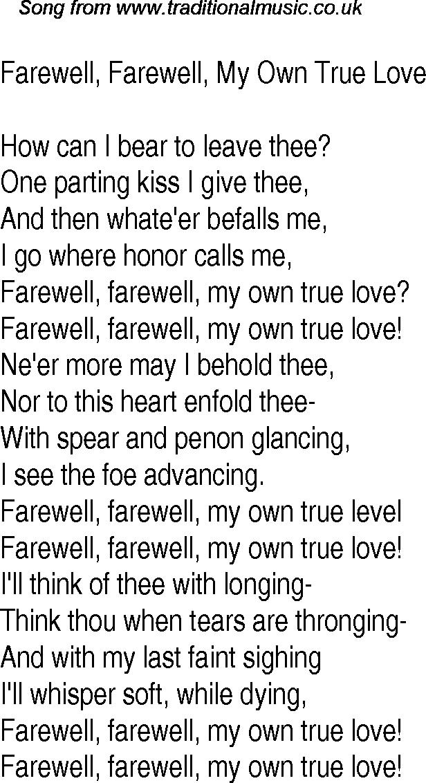Lyric lyrics to old love songs : Old Time Song Lyrics for 18 Farewell, Farewell, My Own True Love