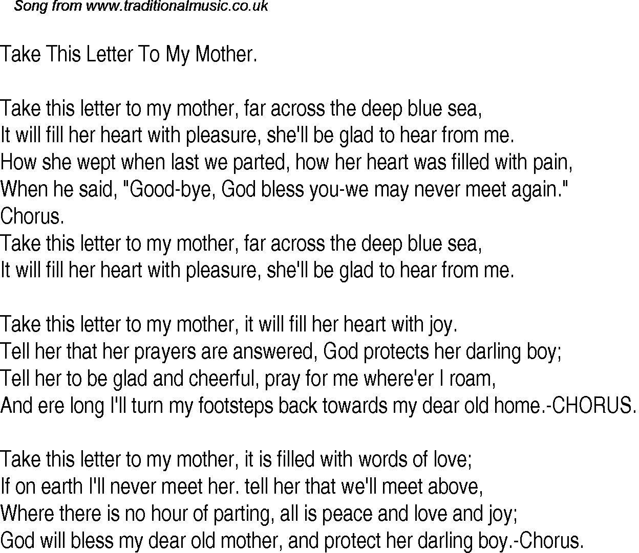 Old Time Song Lyrics for 28 Take This Letter To My Mother