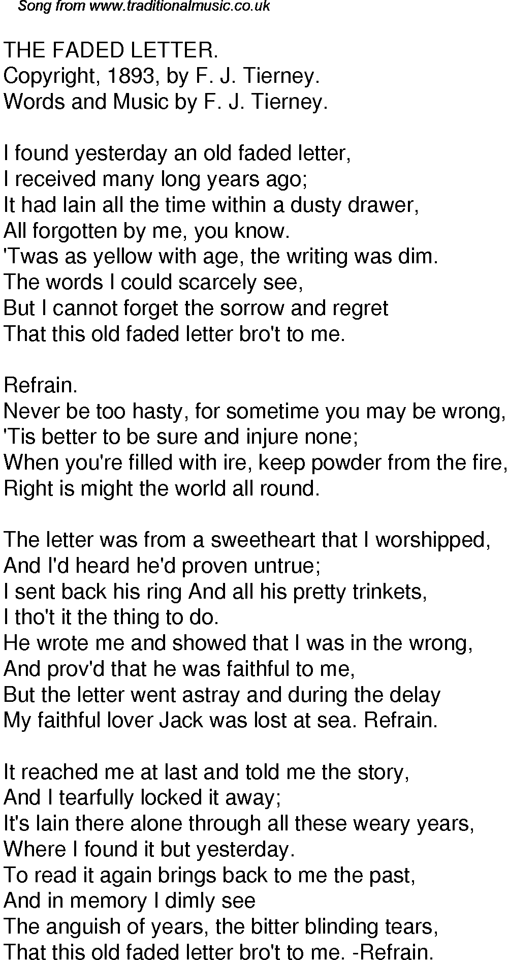 Old Time Song Lyrics for 41 The Faded Letter