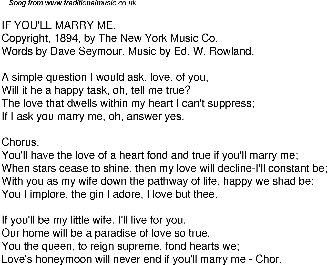 Old Time Song Lyrics For 45 If Youll Marry Me