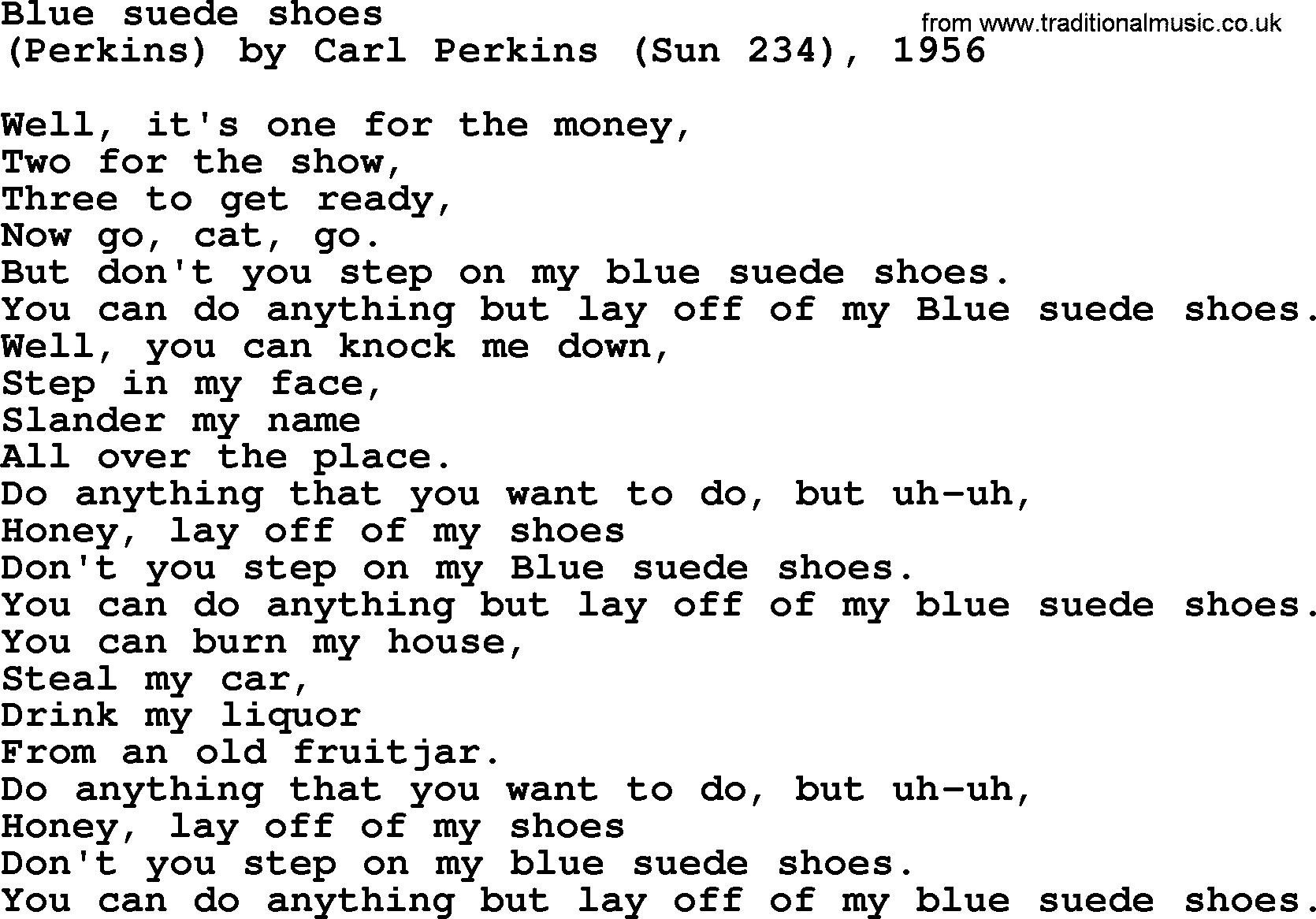Blue Suede Shoes Lyrics Chords