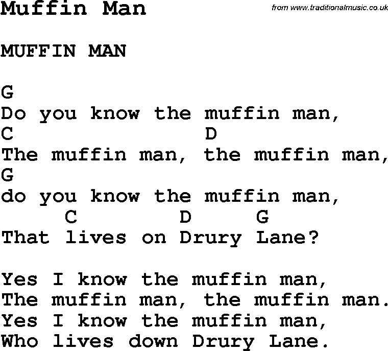 Lyric man song lyrics : Summer Camp Song, Muffin Man, with lyrics and chords for Ukulele ...