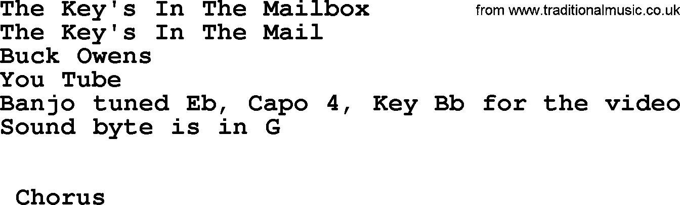 Lyric bluegrass song lyrics : The Key's In The Mailbox - Bluegrass lyrics with chords