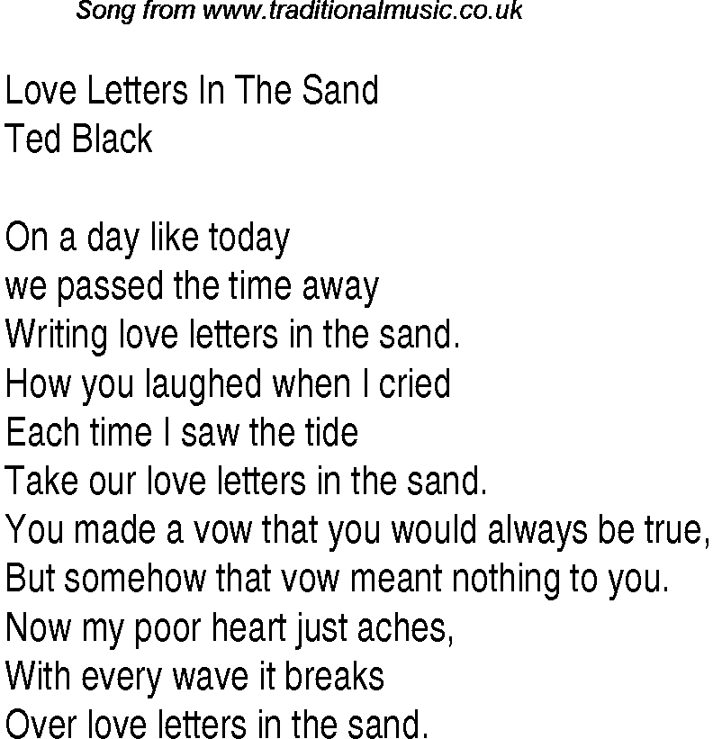 love letter song top songs 1931 charts lyrics for letters in 10011 | love letters in the sandtb